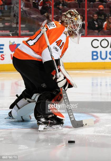Anthony Stolarz of the Philadelphia Flyers deflects a shot on goal by the Carolina Hurricanes on April 9 2017 at the Wells Fargo Center in...