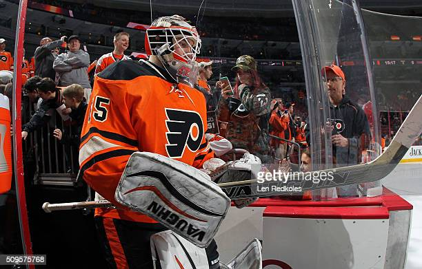 Anthony Stolarz of the Philadelphia Flyers enters the ice surface for the pregame warmups prior to playing the New York Rangers on February 6 2016 at...