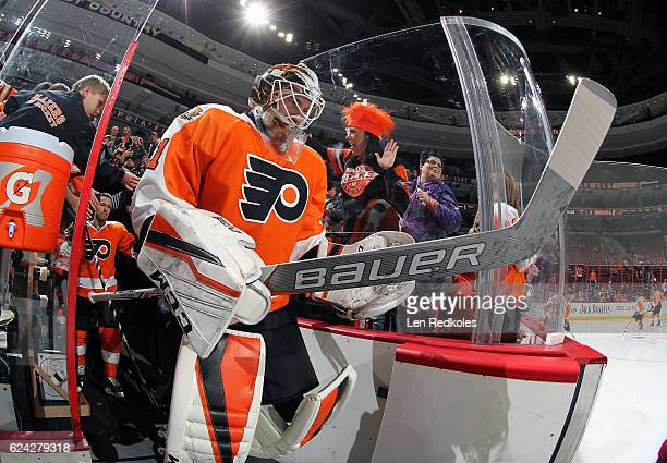 Anthony Stolarz of the Philadelphia Flyers enters the ice surface for the pregame warmup against the Ottawa Senators on November 15 2016 at the Wells...