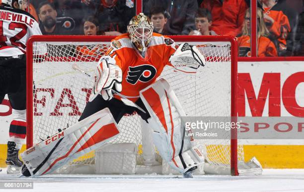 Anthony Stolarz of the Philadelphia Flyers in action against the New Jersey Devils on April 1 2017 at the Wells Fargo Center in Philadelphia...
