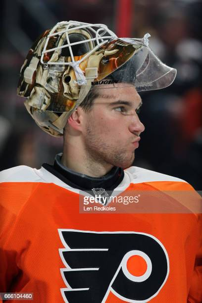 Anthony Stolarz of the Philadelphia Flyers looks on against the New Jersey Devils on April 1 2017 at the Wells Fargo Center in Philadelphia...
