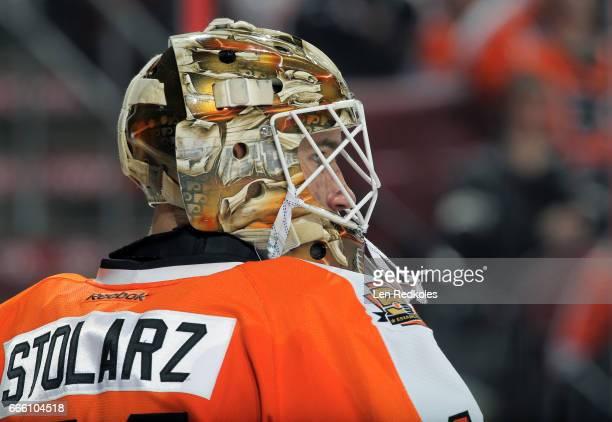 Anthony Stolarz of the Philadelphia Flyers looks on against the New Jersey Devils on April 1 2017 at the Wells Fargo Center in Philadelphia...