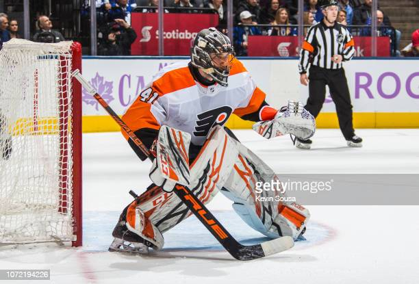 Anthony Stolarz of the Philadelphia Flyers looks on against the Toronto Maple Leafs during the second period at the Scotiabank Arena on November 24...