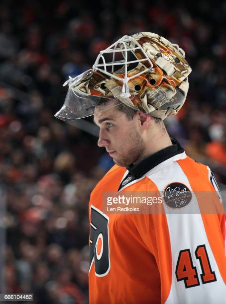 Anthony Stolarz of the Philadelphia Flyers looks on during a stoppage in play against the New Jersey Devils on April 1 2017 at the Wells Fargo Center...