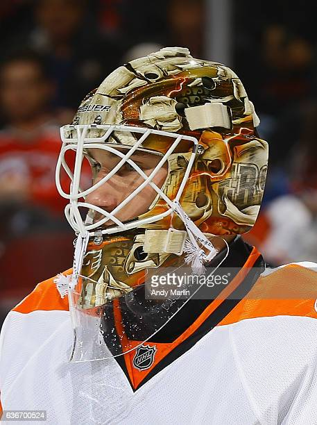 Anthony Stolarz of the Philadelphia Flyers looks on during the game against the New Jersey Devils at Prudential Center on December 22 2016 in Newark...