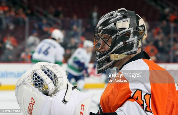Anthony Stolarz of the Philadelphia Flyers looks on during warmups against the Vancouver Canucks on February 4 2019 at the Wells Fargo Center in...