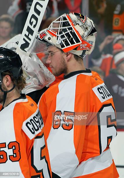 Anthony Stolarz of the Philadelphia Flyers looks on during warmups prior to his game against the Los Angeles Kings on November 17 2015 at the Wells...