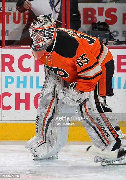 Anthony Stolarz of the Philadelphia Flyers looks on during warmups prior to his game against the New York Rangers on February 6 2016 at the Wells...