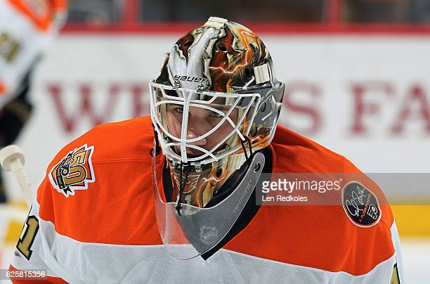 Anthony Stolarz of the Philadelphia Flyers looks on during warmups prior to his game against the Tampa Bay Lightning on November 19 2016 at the Wells...