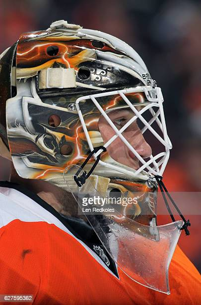 Anthony Stolarz of the Philadelphia Flyers making his NHL debut looks on against the Calgary Flames on November 27 2016 at the Wells Fargo Center in...