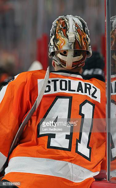 Anthony Stolarz of the Philadelphia Flyers making his NHL debut gathers himself along the bench during a stoppage in play against the Calgary Flames...