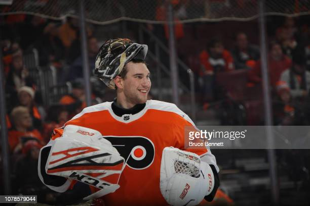 Anthony Stolarz of the Philadelphia Flyers plays against the Columbus Blue Jackets at the Wells Fargo Center on December 06 2018 in Philadelphia...