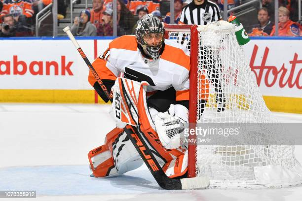 Anthony Stolarz of the Philadelphia Flyers prepares to make a save during the game against the Edmonton Oilers on December 14 2018 at Rogers Place in...