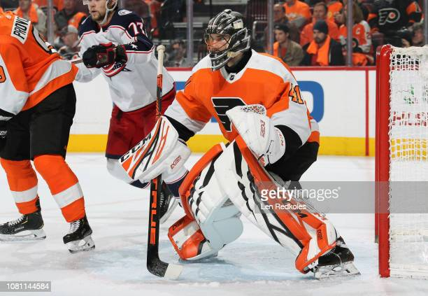 Anthony Stolarz of the Philadelphia Flyers prepares to stop a shot on goal against the Columbus Blue Jackets on December 6 2018 at the Wells Fargo...