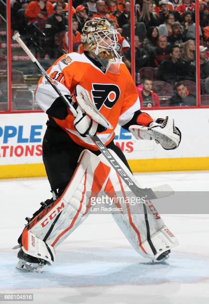 Anthony Stolarz of the Philadelphia Flyers prepares to stop a shot on goal by the New Jersey Devils on April 1 2017 at the Wells Fargo Center in...