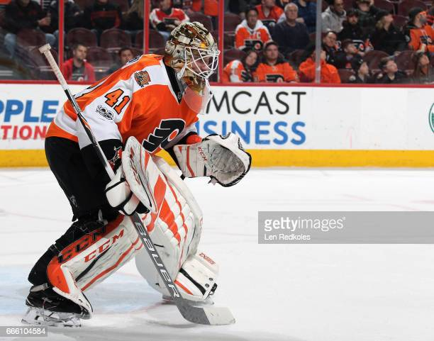 Anthony Stolarz of the Philadelphia Flyers prepares to stop a shot on goal against the New Jersey Devils on April 1 2017 at the Wells Fargo Center in...
