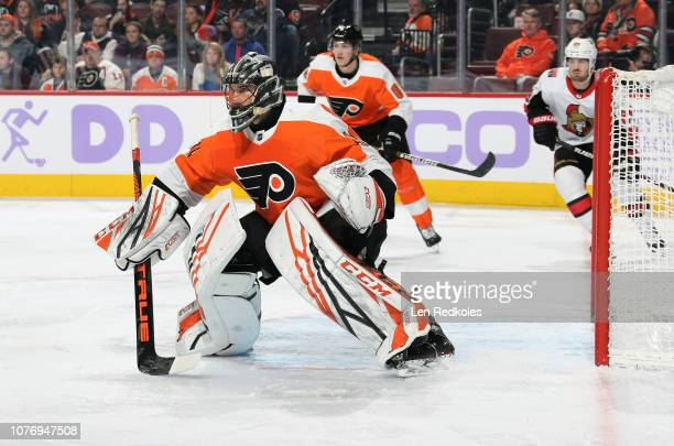 Anthony Stolarz of the Philadelphia Flyers reacts to shot on goal against the Ottawa Senators on November 27 2018 at the Wells Fargo Center in...
