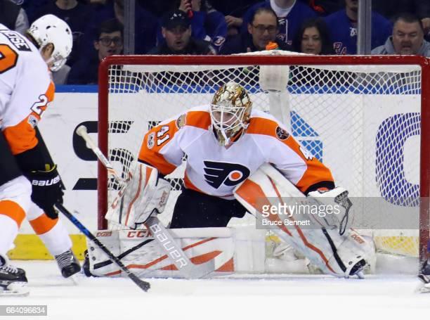 Anthony Stolarz of the Philadelphia Flyers skates against the New York Rangers at Madison Square Garden on April 2 2017 in New York City The Rangers...