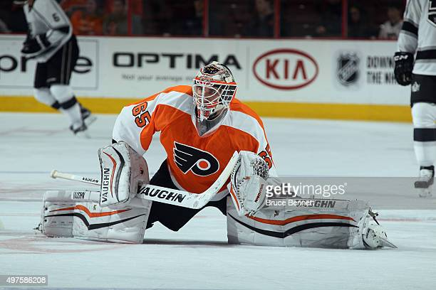 Anthony Stolarz of the Philadelphia Flyers skates in warmups prior to the game against the Los Angeles Kings at the Wells Fargo Center on November 17...