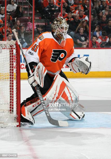 Anthony Stolarz of the Philadelphia Flyers stands in goal against the New Jersey Devils on April 1 2017 at the Wells Fargo Center in Philadelphia...