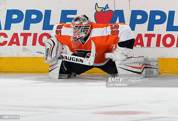 Anthony Stolarz of the Philadelphia Flyers stretches during warmups prior to his game against the Los Angeles Kings on November 17 2015 at the Wells...