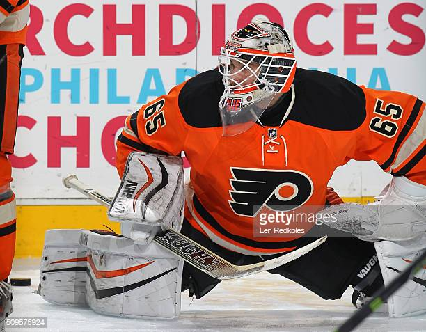 Anthony Stolarz of the Philadelphia Flyers stretches during warmups prior to his game against the New York Rangers on February 6 2016 at the Wells...
