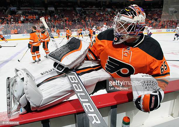 Anthony Stolarz of the Philadelphia Flyers stretches during warmups prior to his game against the Washington Capitals on March 30 2016 at the Wells...