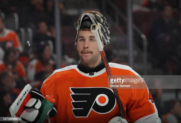 Anthony Stolarz of the Philadelphia Flyers tends net against the Ottawa Senators at the Wells Fargo Center on November 27 2018 in Philadelphia...