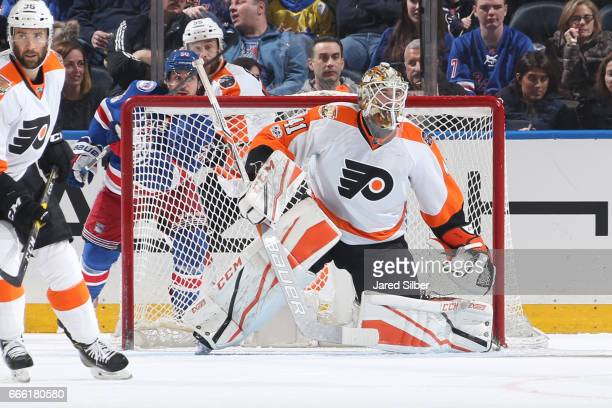 Anthony Stolarz of the Philadelphia Flyers tends the net against the New York Rangers at Madison Square Garden on April 2 2017 in New York City The...