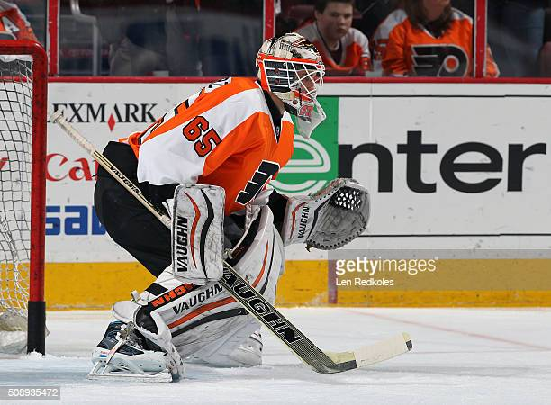 Anthony Stolarz of the Philadelphia Flyers warms up prior to his game against the Montreal Canadiens on February 2 2016 at the Wells Fargo Center in...