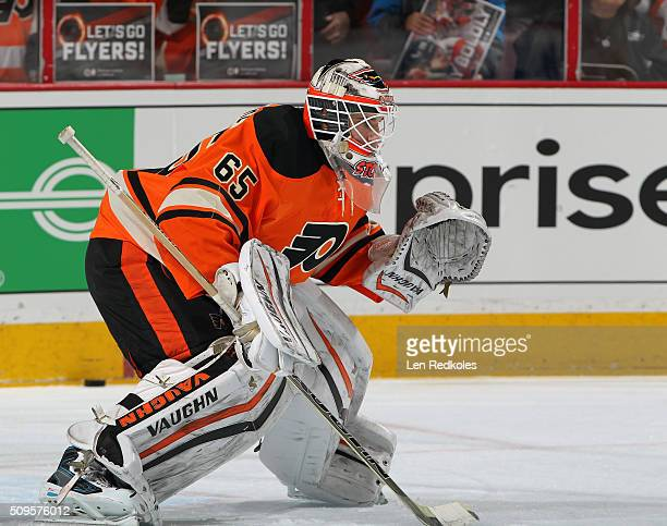 Anthony Stolarz of the Philadelphia Flyers warms up prior to his game against the New York Rangers on February 6 2016 at the Wells Fargo Center in...
