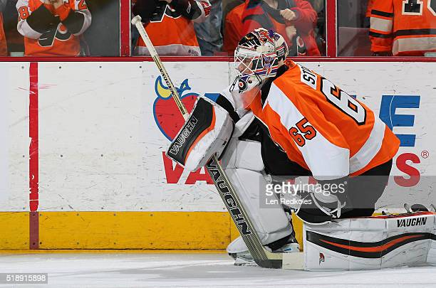 Anthony Stolarz of the Philadelphia Flyers warms up prior to his game against the Winnipeg Jets on March 28 2016 at the Wells Fargo Center in...