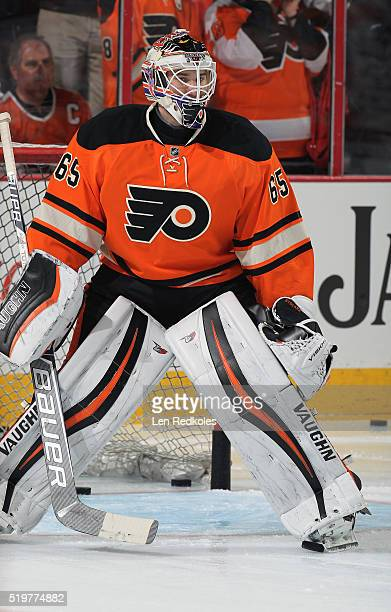 Anthony Stolarz of the Philadelphia Flyers warms up prior to his game against the Washington Capitals on March 30 2016 at the Wells Fargo Center in...