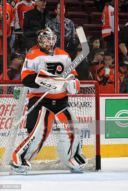 Anthony Stolarz of the Philadelphia Flyers warms up prior to his game against the Tampa Bay Lightning on November 19 2016 at the Wells Fargo Center...