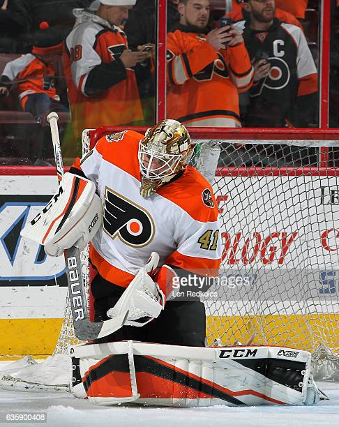 Anthony Stolarz of the Philadelphia Flyers warms up prior to his game against the Dallas Stars on December 10 2016 at the Wells Fargo Center in...