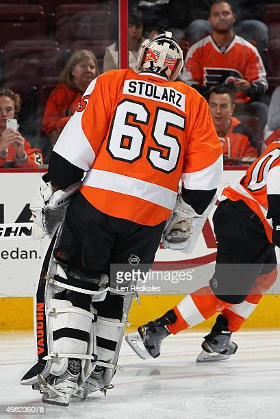 Anthony Stolarz of the Philadelphia Flyers warmsup prior to his game against the Los Angeles Kings on November 17 2015 at the Wells Fargo Center in...