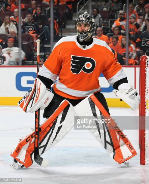Anthony Stolarz of the Philadelphia Flyers watches the play along the boards against the Columbus Blue Jackets on December 6 2018 at the Wells Fargo...