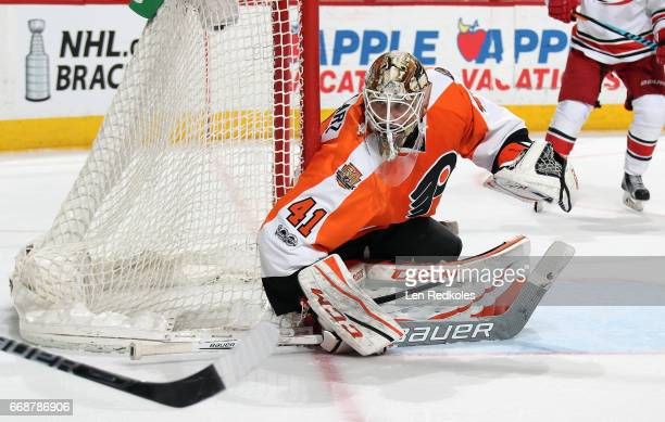 Anthony Stolarz of the Philadelphia Flyers watches the play in the corner against the Carolina Hurricanes on April 9 2017 at the Wells Fargo Center...
