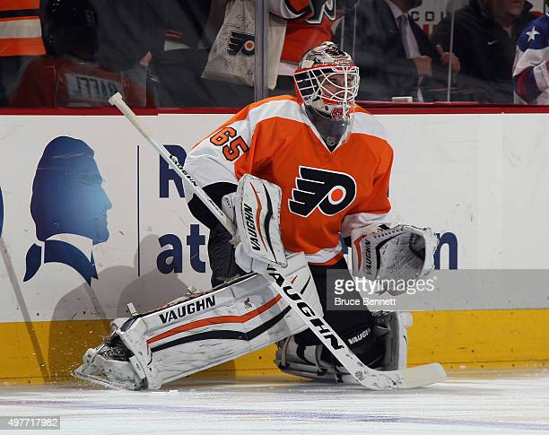 Anthony Stolarz skates in warmups prior to the game against the Los Angeles Kings at the Wells Fargo Center on November 17 2015 in Philadelphia...