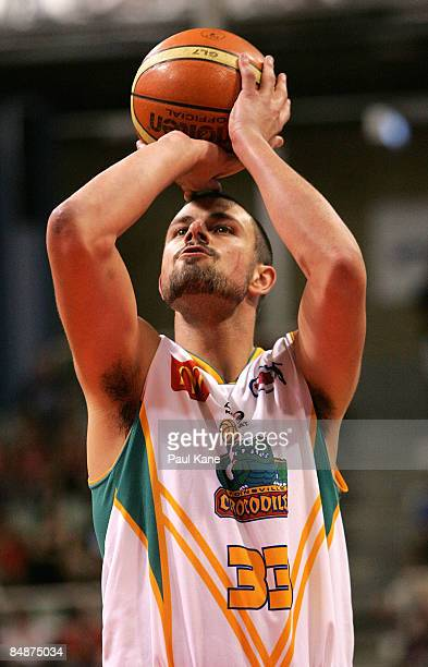 Anthony Susnjara of the Crocodiles shoots a free throw during the NBL quarter final match between the Perth Wildcats and the Townsville Crocodiles...