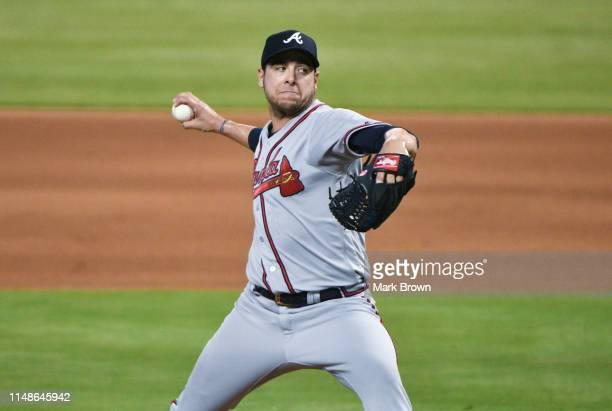 Anthony Swarzak of the Atlanta Braves delivers a pitch in the seventh inning against the Miami Marlins at Marlins Park on June 8 2019 in Miami Florida