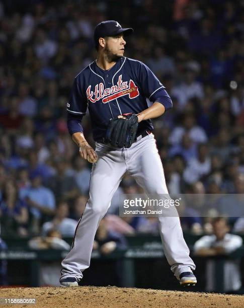 Anthony Swarzak of the Atlanta Braves pitches against the Chicago Cubs at Wrigley Field on June 25 2019 in Chicago Illinois The Braves defeated the...
