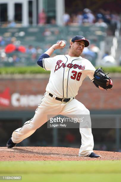 Anthony Swarzak of the Atlanta Braves pitches against the Detroit Tigers at SunTrust Park on June 02 2019 in Atlanta Georgia