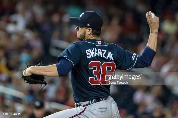 Anthony Swarzak of the Atlanta Braves pitches against the Washington Nationals during the eighth inning at Nationals Park on June 22 2019 in...