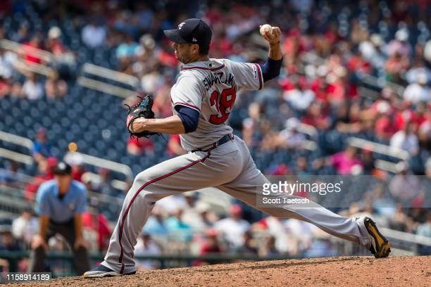 Anthony Swarzak of the Atlanta Braves pitches against the Washington Nationals during the eighth inning at Nationals Park on July 31 2019 in...
