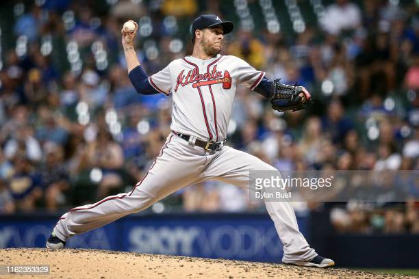 Anthony Swarzak of the Atlanta Braves pitches in the eighth inning against the Milwaukee Brewers at Miller Park on July 15 2019 in Milwaukee Wisconsin