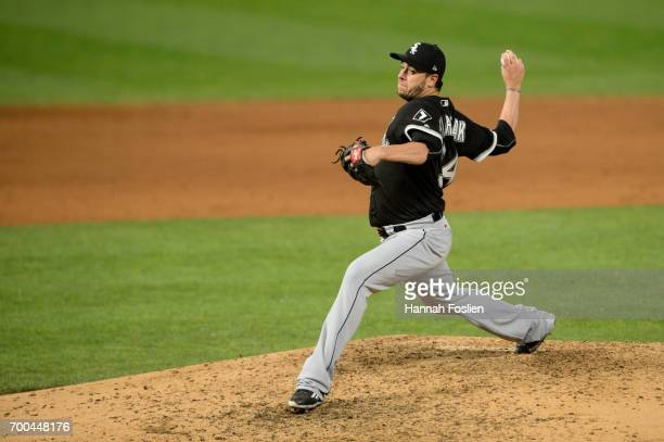Anthony Swarzak of the Chicago White Sox delivers a pitch against the Minnesota Twins during the game on June 20 2017 at Target Field in Minneapolis...