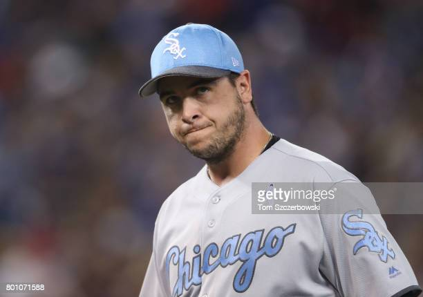 Anthony Swarzak of the Chicago White Sox exits the game as he is relieved in the seventh inning during MLB game action against the Toronto Blue Jays...