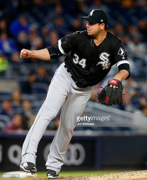 Anthony Swarzak of the Chicago White Sox in action against the New York Yankees at Yankee Stadium on April 17 2017 in the Bronx borough of New York...