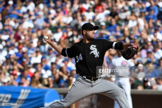 Anthony Swarzak of the Chicago White Sox pitches against the Chicago Cubs during the ninth inning on July 24 2017 at Wrigley Field in Chicago...